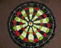 Dartboard funeral floral tribute Middlesbrough
