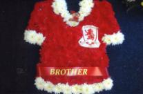 Middlesbrough FC football shirt funeral tribute